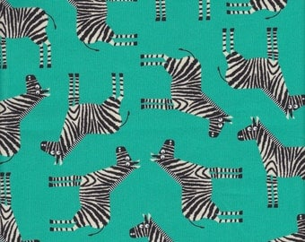 Robert Kaufman Jungle Party Zebras in Bermuda - Half Yard