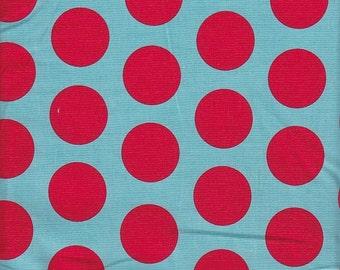 Riley Blake Large Dots in Aqua and Red - Half Yard