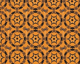 SALE Riley Blake Costume Clubhouse Bats and Spiders in Orange - Half Yard