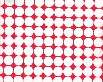 SALE - Moda Fabrics Hoopla Big White Dots on Red - End of Bolt - 1 yard 4 Inches Left