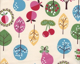 In The Beginning Fabrics Home To Roost Fruit and Trees in Cream - Half Yard