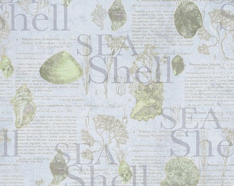 Sea Cottage by Iron Orchid Designs Clothworks Y1896-84 cotton fabric  1/2 yd cuts
