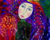 Maiara. Art print from my mixed media painting, wall art, A4