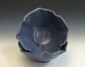 Denim Blue Lotus Bowl - Blue Bowl - Lotus - Cereal Bowl - Salad Bowl - Candy Dish - Stoneware bowl - Pottery Bowl - Denim Blue