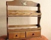 Wood History Spice Bottle Vintage 2 Rack Holder Shelf- Eagle