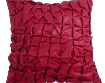 Red Leather Decorative Throw Pillow Covers Accent Pillow Couch Sofa Toss Pillow Case 16x16 Red Faux Leather Pillow Cover Textured Rodeo Red
