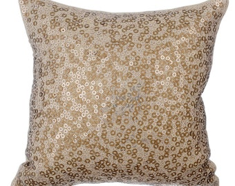Gold Decorative Throw Pillow Covers Accent Pillow Couch Toss Sofa Pillow Case 16x16 Linen Pillow Cover Sequin Embroidered City Of Gold