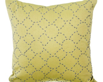 DayDream Again - Yellow Linen Decorative Throw Pillow Covers Accent Pillow Couch Sofa Bed Pillow Case 16x16 Sequin Embroidered