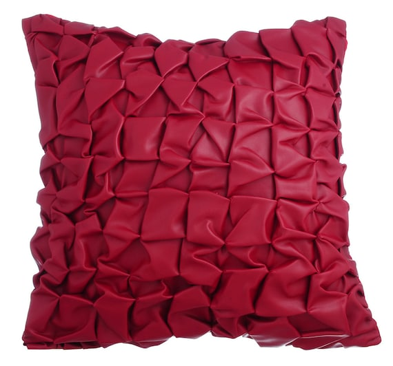 Throw Pillows For Leather Couch : Red Leather Decorative Throw Pillow Covers Accent Pillow Couch
