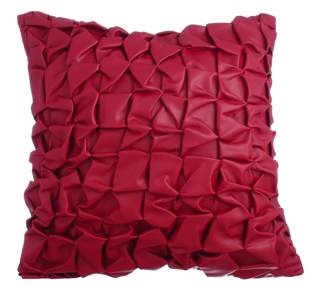 Red Leather Decorative Pillow : Red Leather Decorative Throw Pillow Covers Accent Pillow Couch