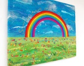 Somewhere Over The Rainbow  - Felt Painting. A felted rainbow in a meadow with golden stitched words. Original Art.  Stretched on a Frame