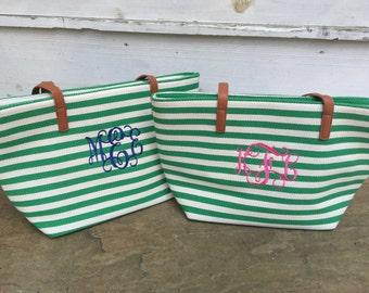 Green Stripe Monogrammed Purse-Charlotte Stripe Purse- Personalized Purse- Monogrammed Purse