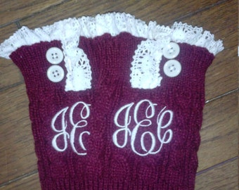 Monogrammed Boot Cuff Sock