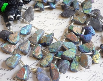 25% Off Sale Flashy Rainbow Mystic Labradorite Nugget Briolette Beads , Aqua Aura Hammered