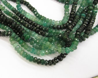 Natural Emerald ROndelle  Beads, Very Fine Large Emerald Rondelle beads 5mm to 6mm, 16 Inches