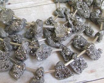 Mystic Silver Geode Druzy Briolette Beads, Titanium run Nugget Gemstone Beads