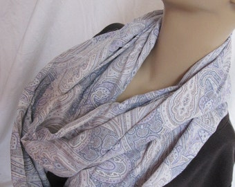 SALE - Denim Floral Paisley Cowl/Circle Scarf/Infinity Scarf (5145)