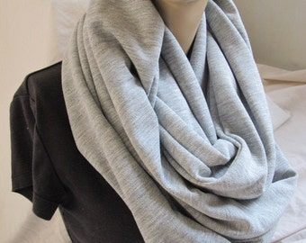 Heavy Grey Knit Cowl/Circle Scarf/Infinity Scarf (5365)