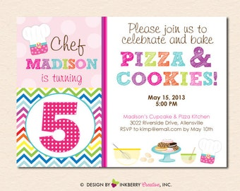 Rainbow Chevron Baking Theme Birthday Party Invitation (Digital File - Printed Cards Also Available)