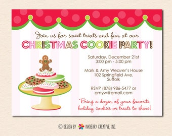 Christmas Cookie Party Invitation (Digital File OR Printed Cardstock Cards Are Available)