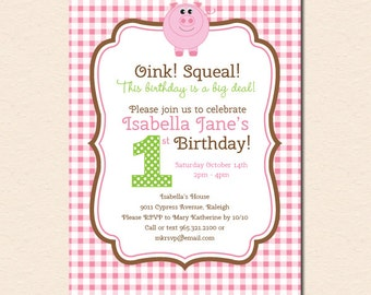 Pink Piggy First Birthday Party Invitation (Digital File OR Cardstock Printed Cards Also Available)
