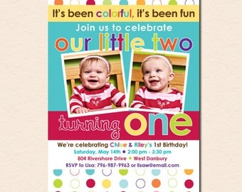 Colorful Fun Year - Twins' First Birthday Party Invitation (Digital File OR Printed Cards Also Available)