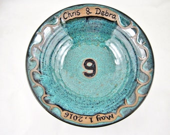 Personalized 9th Anniversary gift, Pottery anniversary gift, customize with names and date, ninth wedding gift