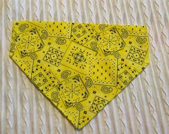 Dog Collar Bandana in Bright Yellow Bandana Fabric Sizes XS to XL