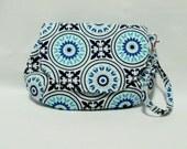 Clutch Purse Handbag Medallion in Blue,Wristlet Bag, Makeup Bag, Magnetic Snap Purse