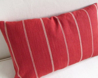 Rustic Woven persimmon red in cream stripes  decorative lumbar pillow with insert 12x18 12x20 12x22 12x24 12x26
