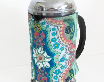 French Press Coffee cosy, Mothers Day Gift, Coffee Pot Cozy, Coffee Pot cosy, Blue and Green Coffee cosy