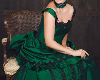 Green/black Gothic Victorian Upscale Costume Madeline from Interview with the Vampire Custom