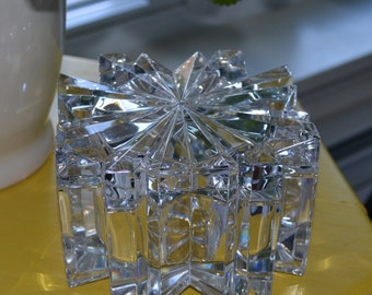 60s faceted glass covered candy dish
