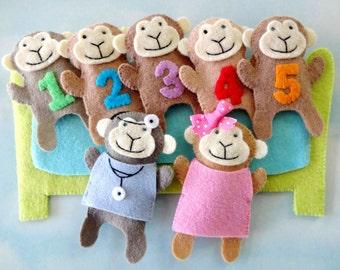 Five Little Monkeys Finger Puppet Set Felt Sewing Pattern Tutorial - PDF e PATTERN