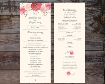 Wedding Programs, Wedding Program Template, Wedding Ceremony Programs, Watercolor Wedding Programs, Floral Wedding Program, Watercolor