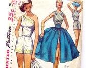 1950s Vintage One Shoulder Wrap Top Playsuit with Skirt and Cummerbund Bare Shoulder Resort Wear / Size 12
