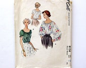 1950 Beautiful Peasant Style Blouse Vintage Sewing Pattern Romantic Bohemian Design Puff Sleeves McCall 8134 / Size 14