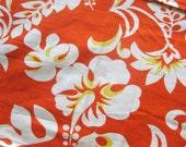 Vintage Tropical Print Cotton Fabric - Aloha Tiki Print Hibiscus Flowers in Bright Orange, Yellow and White