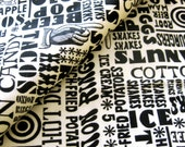 Vintage Novelty Typographic Print Fabric Snack Food Theme in Black and White