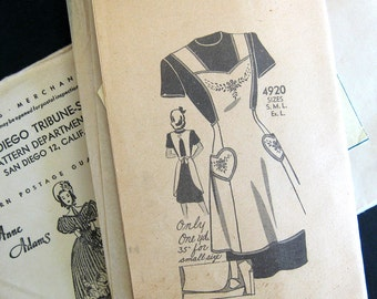 1940s Vintage Apron Sewing Pattern - Anne Adams Instructor 4920 - Bib Pinafore APRON Heart Pockets / Small 32-34 Bust