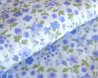 1970s Vintage Fabric - Sheer Floral Cotton Print - Pale Lavender Flowers Light-Weight Yardage /  1-3/4 Yards