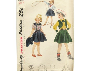 1940s Simplicity 3026 Vintage Sewing Pattern Girl's Cowgirl Western Shirt, Skirt and Bolero / Simplicity 3026 / Size 2 Uncut