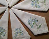 Set of 8 Vintage White Embroydered Cloth Napkins, Blue Floral, Green Tree