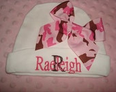 Raeleigh Personalized Baby Cap, MOnogram Baby Hat, Personalized Baby Beanie - Choice of name or up to 3 initials