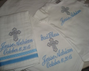 Jesse Personalized Baptism Blanket Bodysuit/Gown/Onesie and Burp Cloth christening Gift Set  - Choice of Name and/or upto 3 Initials