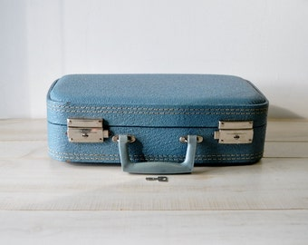 Road Trip--vintage blue 1960s luggage with key--home decor--storage--travel case