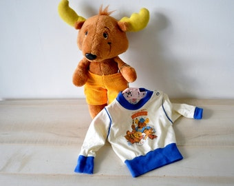 Vintage Plush Get Along Gang Montgomery Moose - Get Along Gang 1980s vintage stuffed animal / Jog Tog get along gang shirt / made in USA