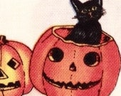 Halloween Pumpkins & Cats Alexander Henry Cotton Fabric REMNANT