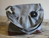 Handbag, Crossbody Purse, Messenger Bag, Medium Faux Leather Bag, Grey Linen Like Bag, Gray Purse, Vegan Leather, Pleated Purse