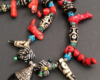 Exotic, Tribal inspired Custom Designed Necklace / Treasure Chest of Tibetan/African Artifacts / Liz Wolter